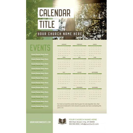 Church Calendars - Cross YEARLY THEME - 8.5 x 14 in.
