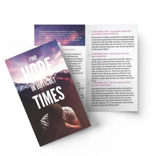 Bi-fold Gospel Tract - Finding Hope in Difficult Times - 5.5 x 3.5 in.