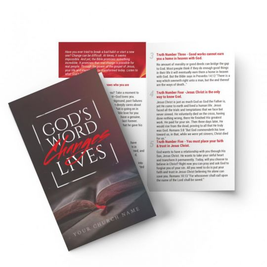 Bi-fold Gospel Tract - God's Word Changes Lives Red - 5.5 x 3.5 in.
