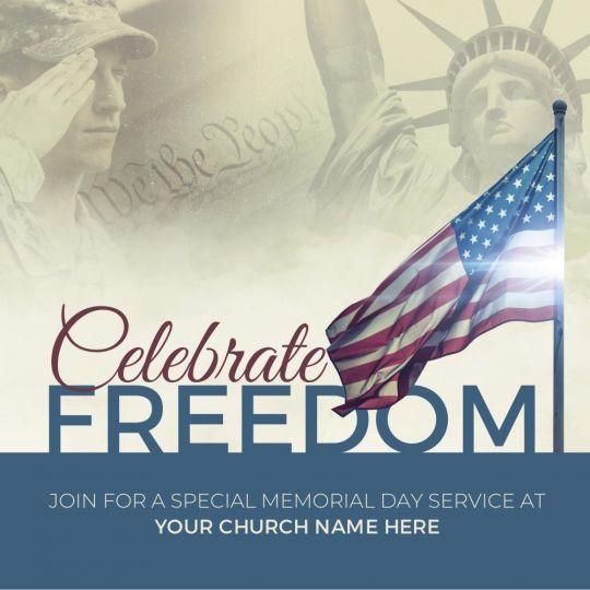Church Social Media Graphics - Celebrate Freedom - 1200 x 1200 px