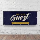 Church Horizontal Banner - Be Our Guest Purple Wood