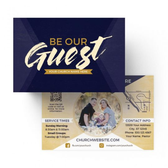 Church Standard Invite Cards - Be Our Guest Purple Wood