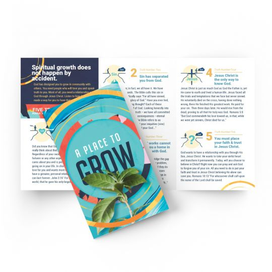 Tri-fold Gospel Tract - A Place to Grow - 5.5 x 3.25 in.
