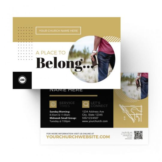 Church Standard Invite Cards - A Place to Belong - 4 x 6 in.