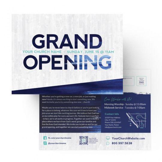 Church EDDM - Grand Opening Blue Grunge - 9 x 6.5 in.