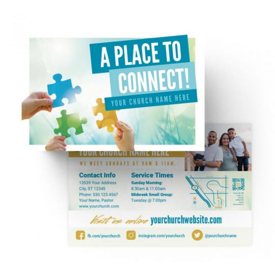 Church Standard Invite Cards - A Place To Connect - 4 x 6 in.