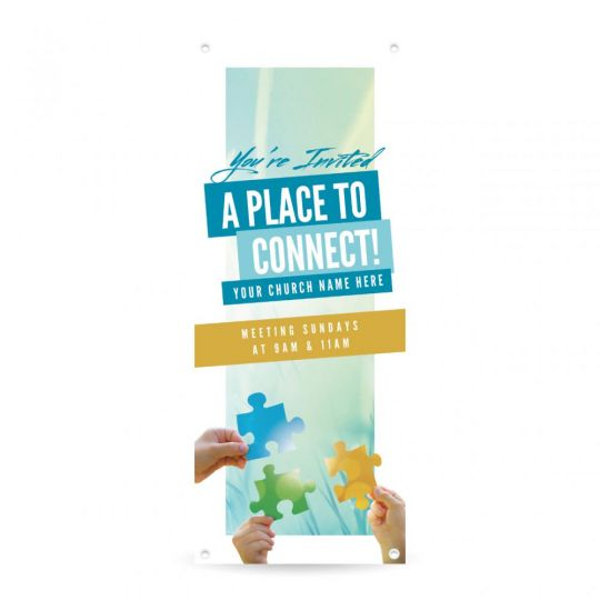 Church Vertical Banner - A Place To Connect - 36 x 90 in.