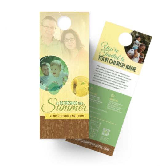 Church Door Hangers - Be Refreshed This Summer - 4.25 x 11 in.