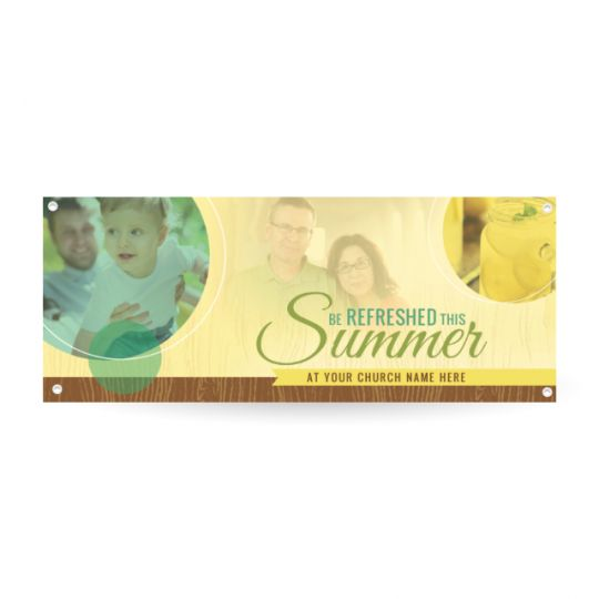Church Horizontal Banner - Be Refreshed This Summer - 90 x 36 in.
