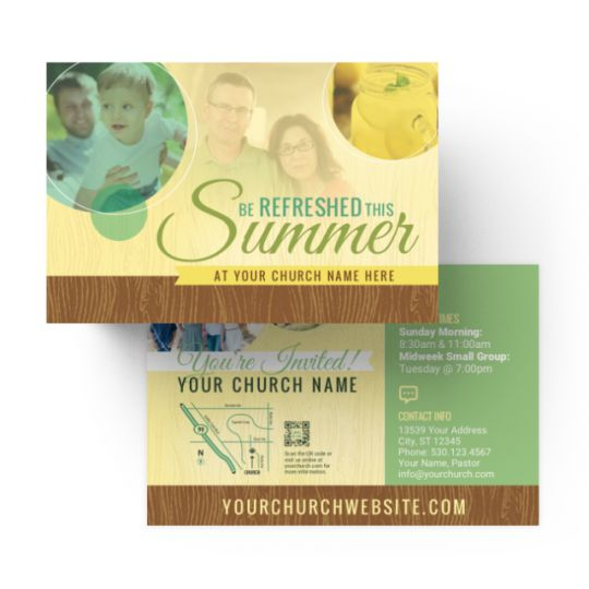 Church Standard Invite Cards - Be Refreshed This Summer - 4 x 6 in.