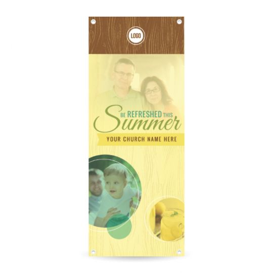 Church Vertical Banner - Be Refreshed This Summer - 36 x 90 in.