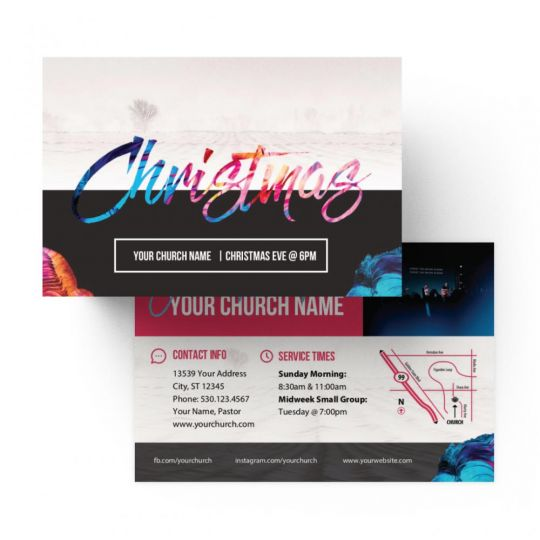 Church Standard Invite Cards - Christmas Colorful - 4 x 6 in.