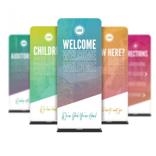 Church 5x Fabric Banner Set - Angled Gradients - 36 x 90 in.