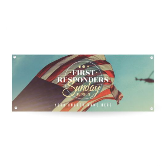Church Horizontal Banner - First Responders - 90 x 36 in.