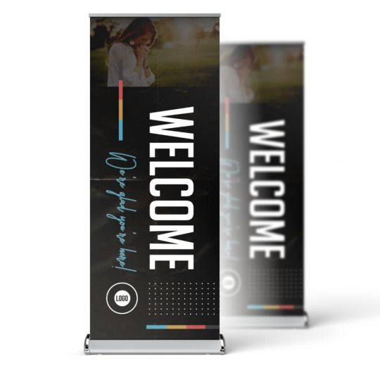 Church Pop-Up Banner - Color Block Lines - 33 x 81 in.