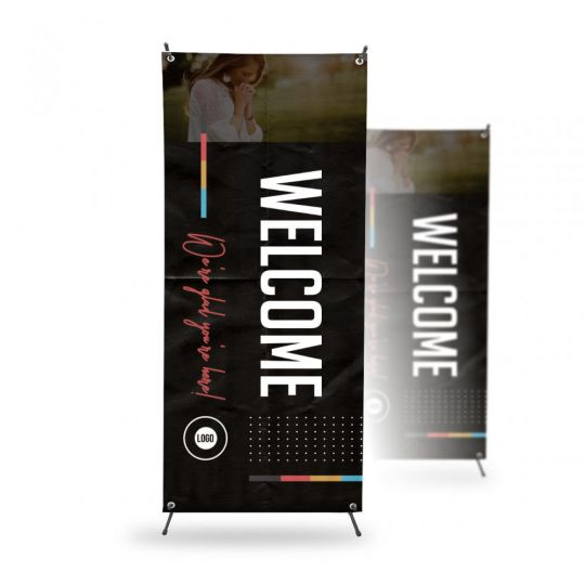 X-Stand Banner - Color Block Lines - 32 x 71 in.