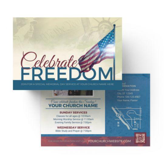 Church Standard Invite Cards - Celebrate Freedom - 4 x 6 in.