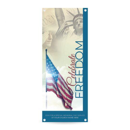 Church Vertical Banner - Celebrate Freedom - 36 x 90 in.