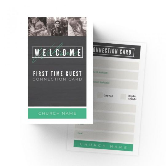 Church Mini Connection Cards - Modern Wood - 5.5 x 3.5 in.