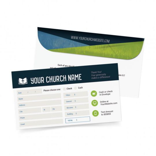 Church Small Offering Envelope - Modern Yearly Theme - 3.625 x 6.5 in.