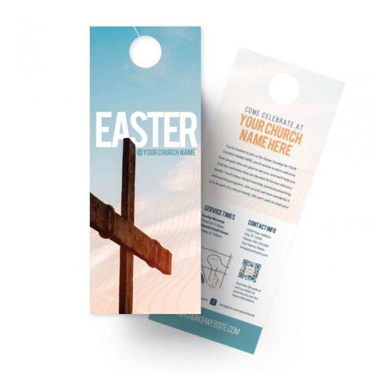 Church Door Hangers - Easter Blue Cross - 4.25 x 11 in.