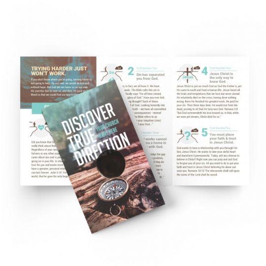 Tri-fold Gospel Tract - Discover True Direction - 5.5 x 3.25 in.