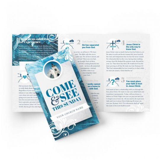 Tri-fold Gospel Tract - Come and See This Sunday - 5.5 x 3.25 in.