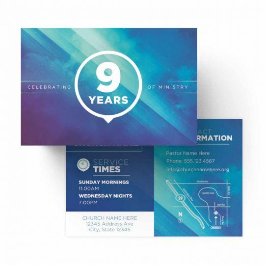 Church Standard Invite Cards - Blue Cloud Anniversary - 4 x 6 in.