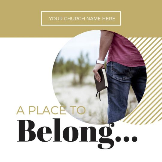 Church Social Media Graphics - A Place to Belong - 1200 x 1200 px